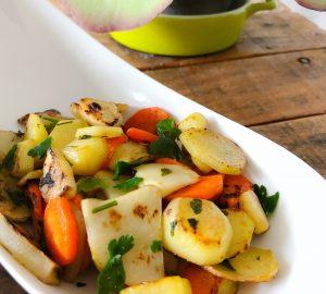 Poêlée hivernale : topinambour, pomme de terres et carottes