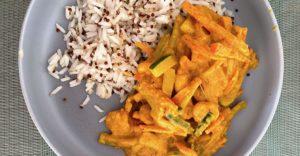 Crevette, courgettes et carottes au lait de coco